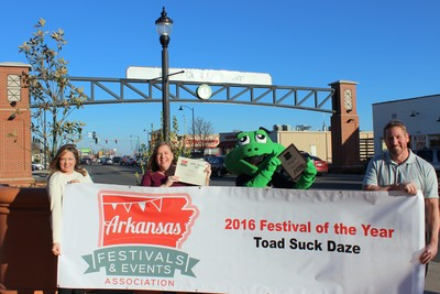 Toad Suck Daze receives the 2016 Festival of the Year Award from the Arkansas Festivals and Events Association.
