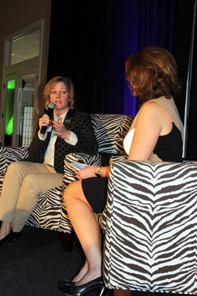 ". Marcella ""Marcy"" Doderer, CEO of Arkansas Children's, delivered the keynote address in an interview format with journalist Melissa Gates."